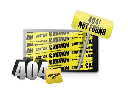 found it: 404 error display on a tablet. illustration design over a white background