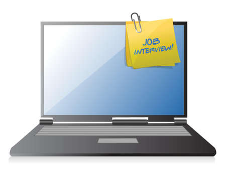 job interview: job interview and post on laptop illustration design over a white background