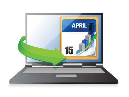 laptop Tax Deadline Calendar illustration design over a white background Stock Vector - 19311235