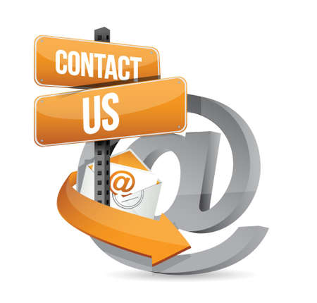contact: E mail contact us at sign illustration design over white