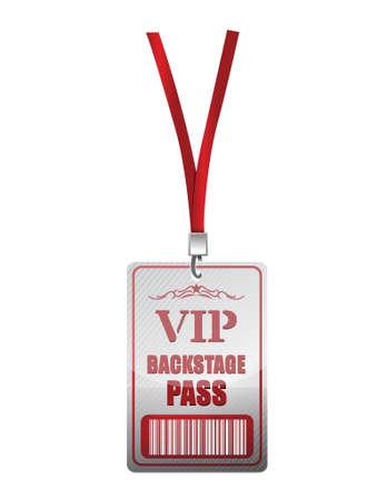 venue: Backstage pass VIP design illustrazione su uno sfondo bianco Vettoriali
