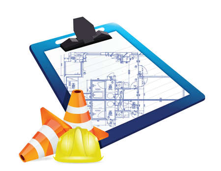 Clipboard with a blueprint sketch over a white background Vector