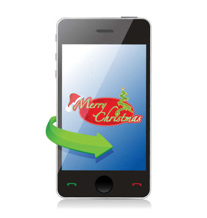 Mobile Phone - Christmas illustration design over white Stock Vector - 19311262