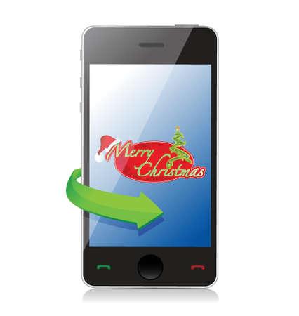 Mobile Phone - Christmas illustration design over white Stock Vector - 19311262