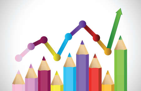 upstream: Business graph illustrating growth made up of colored pencils illustration Illustration
