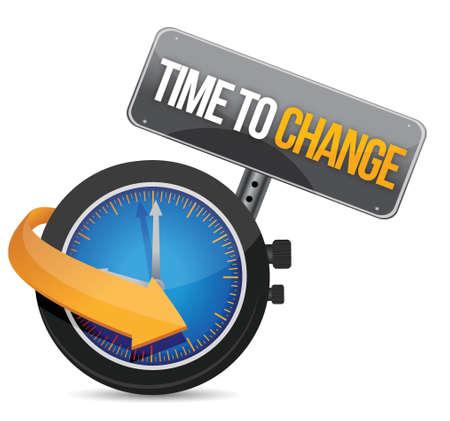 Tijd om concept illustratie ontwerp te veranderen over wit