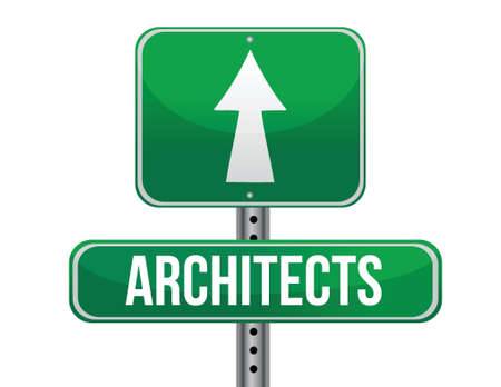 carrer: architects road sign illustration design over a white background
