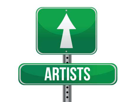 artist road sign illustration design over a white background Vector