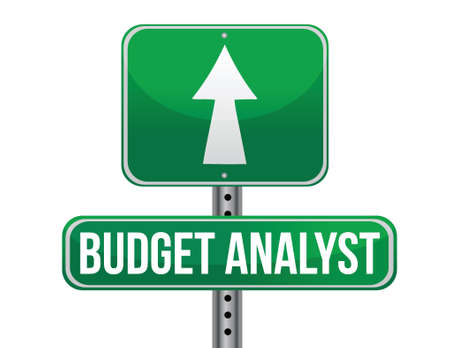 budget analyst road sign illustration design over a white background