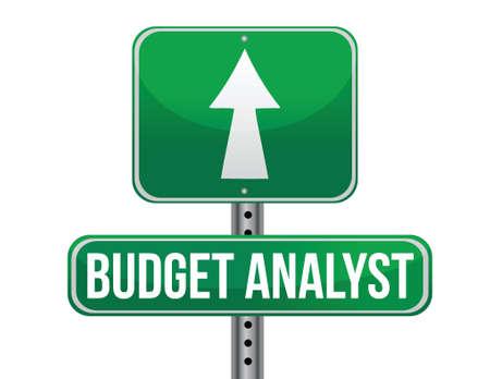 budget analyst road sign illustration design over a white background