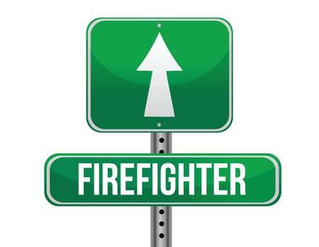 previews: firefighter road sign illustration design over a white background