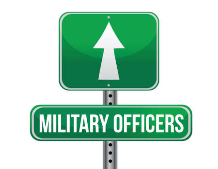 previews: military officers road sign illustration design over a white background