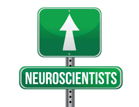neuroscientists road sign illustration design over a white background Çizim