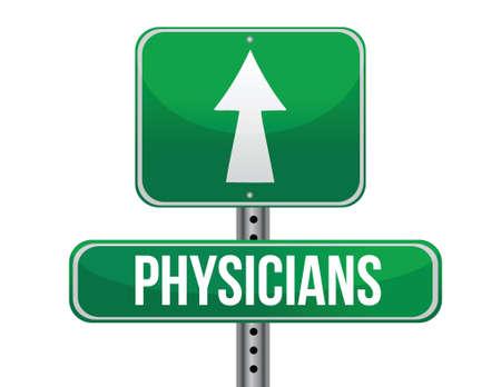 physicians road sign illustration design over a white background Vector Illustration