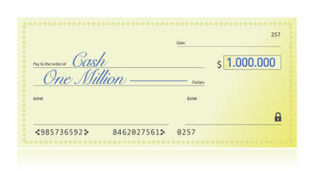1: Closeup of Check Made Out for One Million Dollars illustration design over a white background