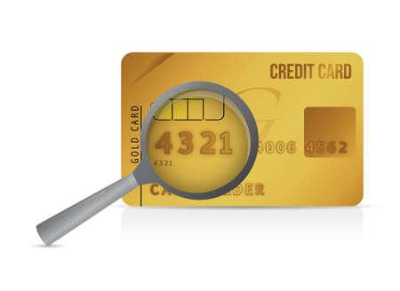 valid: credit card magnify glass illustration design over a white background