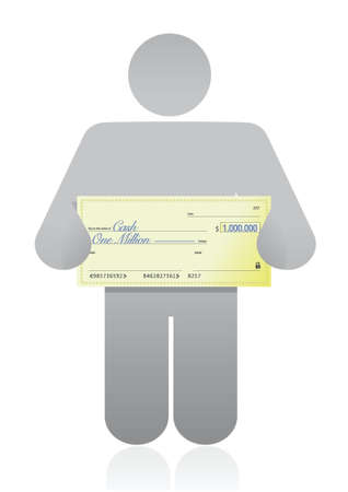 person with a big check in hand illustration design over white