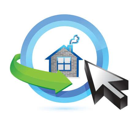 home button and cursor illustration design over white Vector