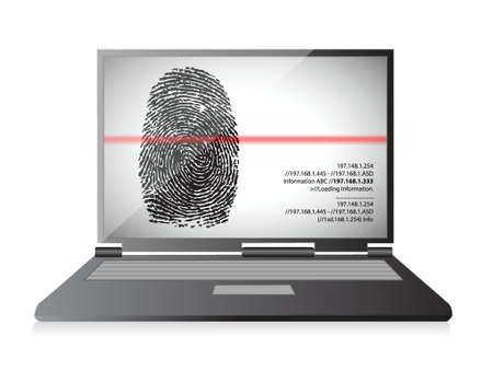 laptop computer scanning a finger print illustration design over white Stock Vector - 19453104