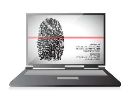 scanning: laptop computer scanning a finger print illustration design over white