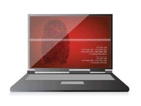 laptop computer scanning a finger print illustration design over white