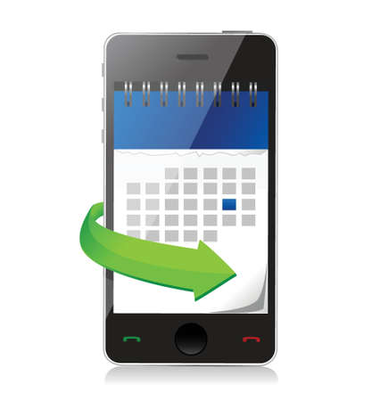 phone with a calendar on screen illustration design over white Vettoriali