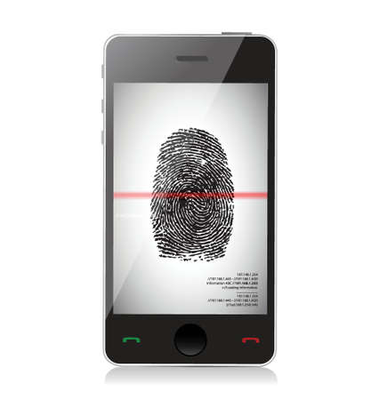 smartphone scanning a finger print illustration design over white Stock Vector - 19453122
