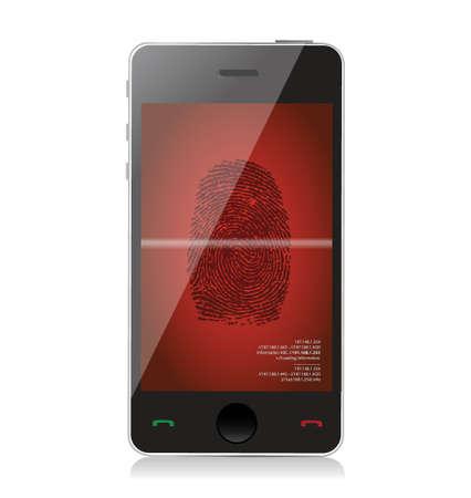 scanning: smartphone scanning a finger print illustration design over white