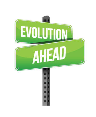 previews: evolution ahead road sign illustration design over a white background