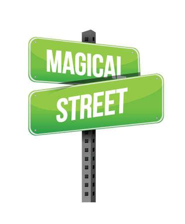 magical street road sign illustration design over a white background