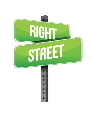 previews: right street road sign illustration design over a white background
