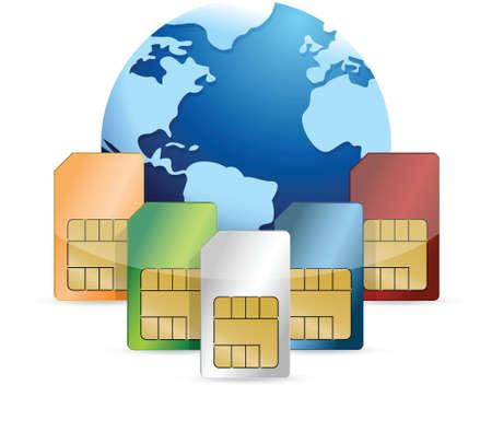 sim card: sim card and globe illustration design over a white background