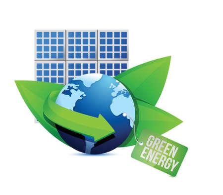 solar panel and Green energy label illustration design over white Stock Vector - 19445935