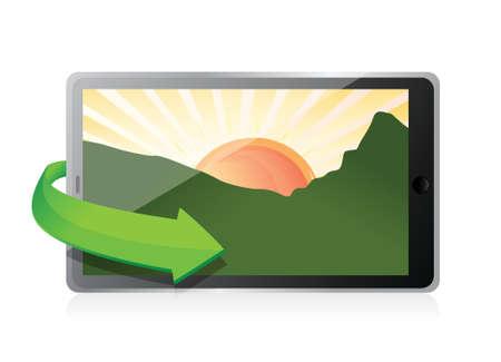 tablet with a landscape picture. illustration design over white