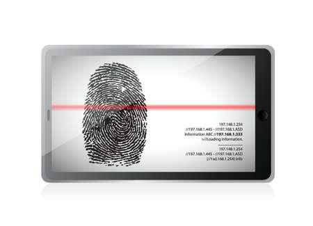 tablet scanning a finger print illustration design over white Stock Vector - 19453105