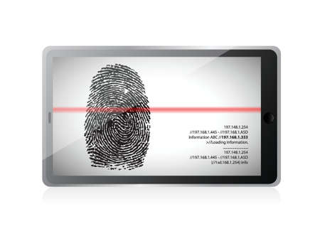 tablet scanning a finger print illustration design over white Stock Vector - 19453105