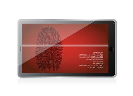 tablet scanning a finger print illustration design over white