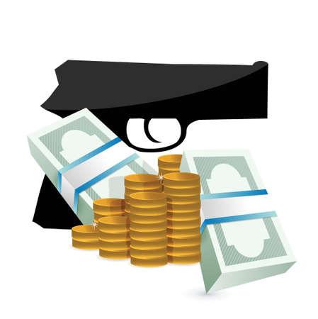 money and a gun illustration design white background