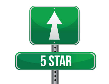 five stars road sign illustration design over a white background 일러스트