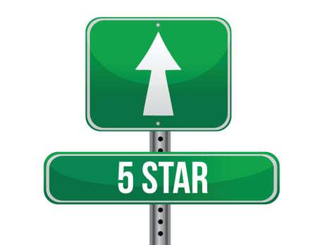 five stars road sign illustration design over a white background 矢量图像