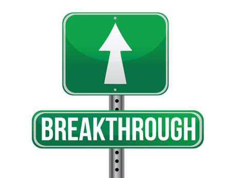 previews: breakthrough road sign illustration design over a white background