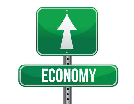 previews: economy road sign illustration design over a white background