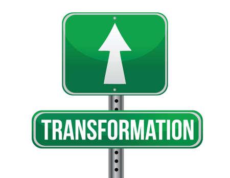 transformation road sign illustration design over a white background Ilustração