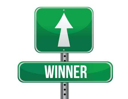 previews: winner road sign illustration design over a white background
