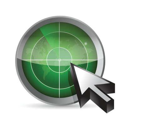 detection: radar, map and cursor illustration design over a white background