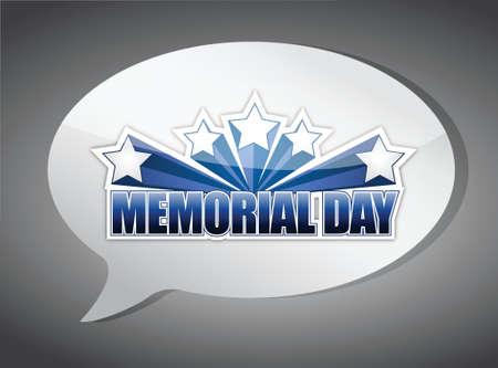 patriotic america: memorial day message chat illustration design over a grey background Illustration