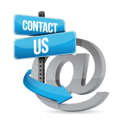 E mail contact us at sign illustration design over white Stock Illustration - 19705797