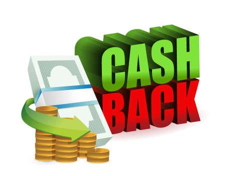 cash back: cash back money sign illustration design over a white background