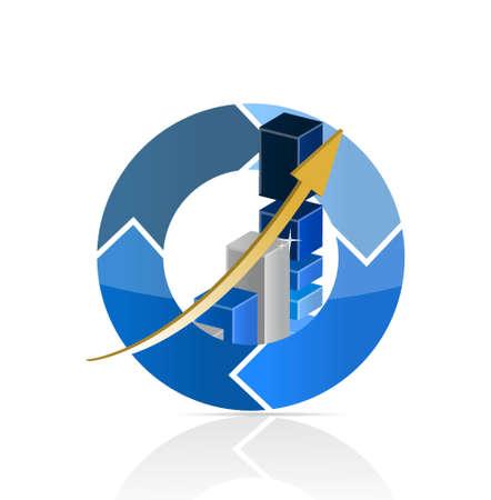 Blue Business Graph illustration design over a white background