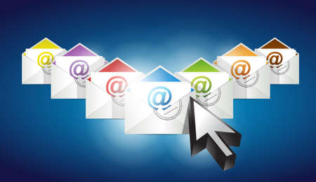 Checking emails. set of envelopes with email symbol illustration design illustration